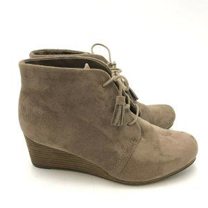Dr. Scholls Wedge Ankle Booties Cool Fit 8.5 Tan